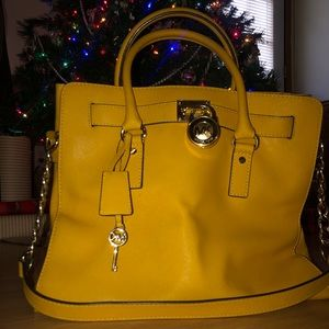 Michael Kors Mustard Yellow Chainlink Tote